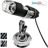 Innolife Portable 50X-500X Magnification 8-LED USB Digital Microscope Endoscope with Stand for Education Biological Inspection