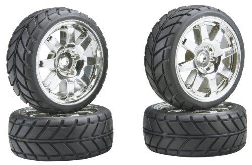 - Team Associated 2407 8-Spoke Chrome Wheels and Tires NTC3 4