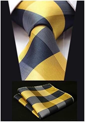 HISDERN Extra Long Check Tie Handkerchief Men's Necktie & Pocket Square Set