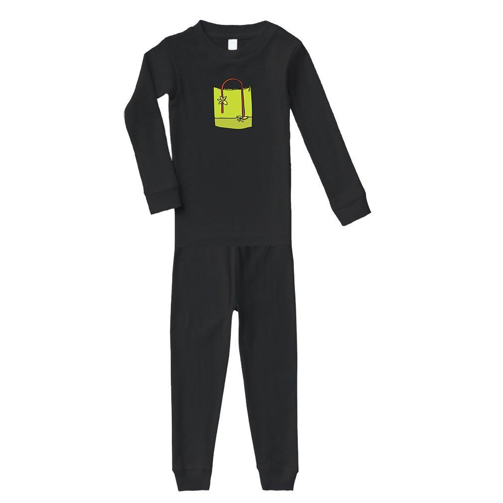 Purse Large Green Cotton Long Sleeve Crewneck Unisex Infant Sleepwear Pajama 2 Pcs Set Top and Pant - Black, 24 Months