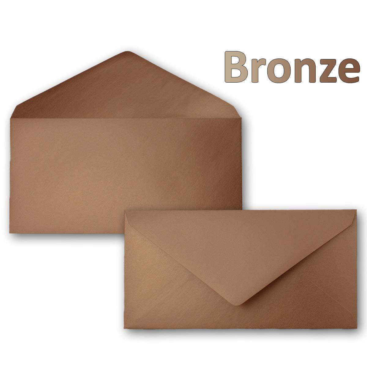 250 Brief-Umschläge Bronze Metallic DIN Lang - - - 110 x 220 mm (11 x 22 cm) - Nassklebung ohne Fenster - Ideal für Einladungs-Karten - Serie FarbenFroh® B079DQ92BF   Vorzugspreis  e7f546