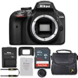 Nikon D3400 24.2MP DSLR Body Only Basic Camera Kit with 32 GB Sandisk Memory Card & Deluxe Gadget Case (Certified Refurbished)