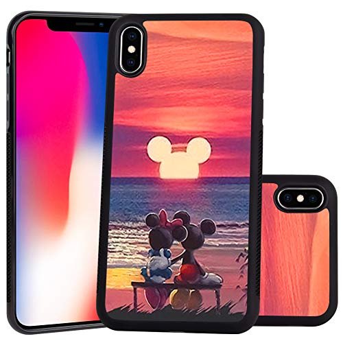 DISNEY COLLECTION Mickey Mouse Sunset Design for Apple iPhone Xs (2018) / iPhone X (2017) 5.8-Inch Case Soft TPU and PC Tired Case Retro Stylish Classic Cover