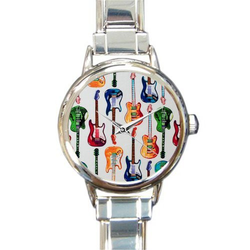 Hot Sale Christmas Day Gift Watch Colorful Guitar Art Design Round Italian Charm stainless steel Watch