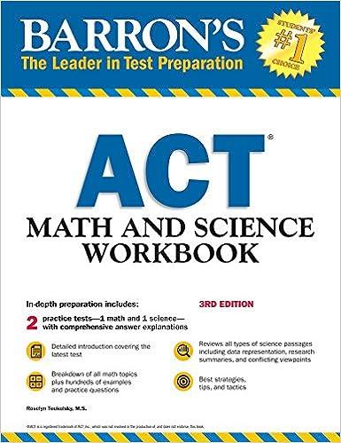 Amazon com: Barron's ACT Math and Science Workbook (Barron's