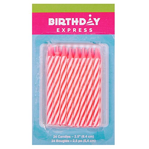 Oasis Supply Candy Stripe Birthday Candles, 2.5-Inch, Pink (Candy Birthday Supplies compare prices)