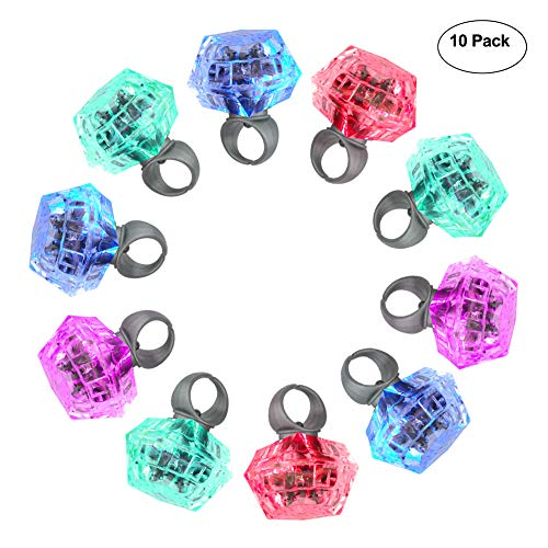 Accmor 10 Packs Party Light Up Rings Engagement Diamond Rings, Perfect for Bachelorette Kids Adults ()