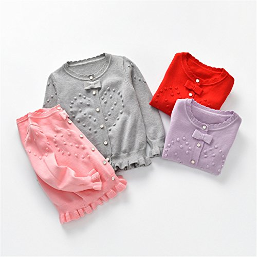 Baby Little Girls Kids Cable Knit Bowknot Love Heart Front Button Cardigan Sweater 2T by REWANGOING (Image #1)