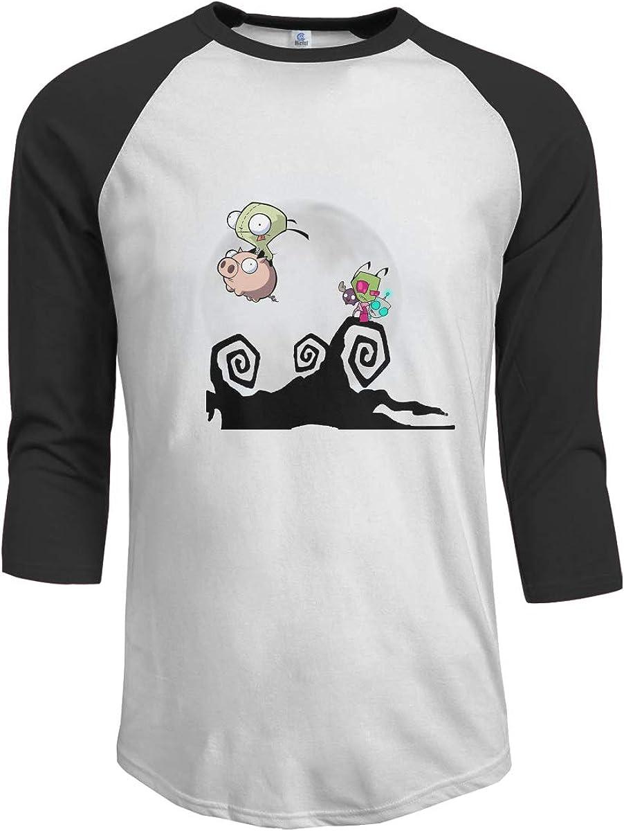 JeremiahR Invader Zim Gir Mens 3//4 Sleeve Raglan Baseball Tshirt Black
