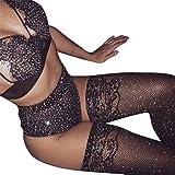 Baolustre Sexy Womens Fishnet Stockings Shiny Rhinestone Thigh High Staying Up Nylon Stockings Pantyhose,Black