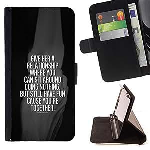BullDog Case - FOR/Samsung Galaxy Core Prime / - / relationship black together white quote /- Monedero de cuero de la PU Llevar cubierta de la caja con el ID Credit Card Slots Flip funda de cuer