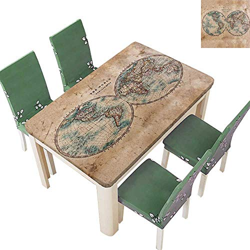 - Printsonne Table in Washable Polyeste Old World from 1800s and History Wedding Party Restaurant 54 x 120 Inch (Elastic Edge)