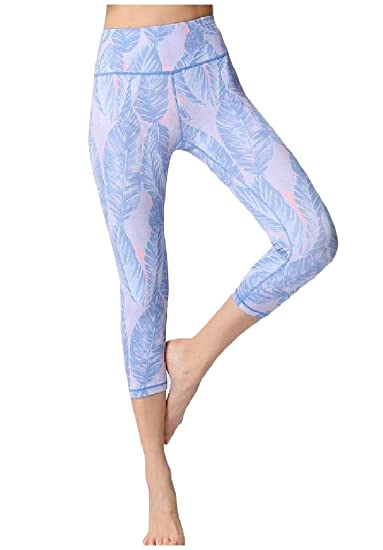 3950e60aaa HEFASDM Womens Seamless 3/4 Length Digital Print High Waisted Gym Tight Yoga  Sport Pants