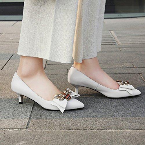 Shallow Chaussures Bout Bow Robe Pointu Aiguille Femmes Mariage De Talons Hauts Court Talon Strass White Bas 6XqgI