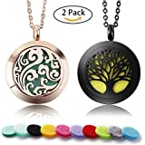 2 Pack Premium Aromatherapy Essential Oil Diffuser Necklace with 10 Refill Pads — Upgrade Stainless Steel Rose Gold Cloud and Black Tree Pendant Locket