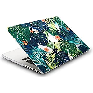"KEC MacBook Pro 13"" Retina Case (2015) Cover Plastic Hard Shell Rubberized A1502 / A1425 (Palm Leaves Lilies)"