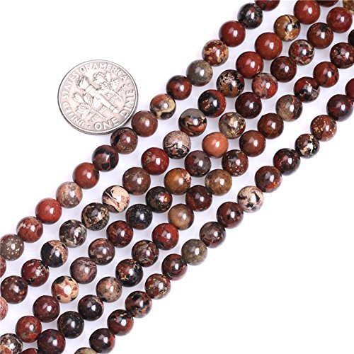 GEM-inside Natural Round Dark Red 6mm AA Grade Natural Poppy Jasper Gemstone Semi Precious Beads for Jewelry Making 15