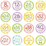 Pearhead Pregnancy Milestone Photo Sharing Belly Stickers, 16 Stickers Included