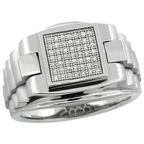 Mens Sterling Silver Cubic Zirconia Rolex Style Square Ring 49 Micro Pave 5/8 inch wide, size 13
