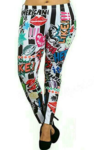 Basico Womens Plus Size 3d Digital Print Cartoon Comic Legging with Various Designs (1 XL, Like)