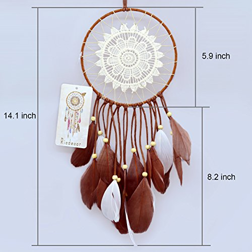 Ricdecor Indian Dream catcher Wind Chimes Feather Pendant wall hanging home decoration (Lace style)