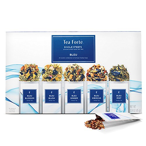Tea Forté Bleu SINGLE STEEPS Loose Leaf Tea Sampler, Assorted Variety Tea Box, 15 Single Serve Pouches – Blue Herbal Tea (Single Leaf Herb)