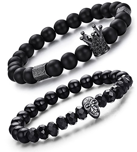 LYLYMIMI Bead Bracelets for Men Crown King Bracelets Black Matte Onyx Stone (2 Pcs a Set)