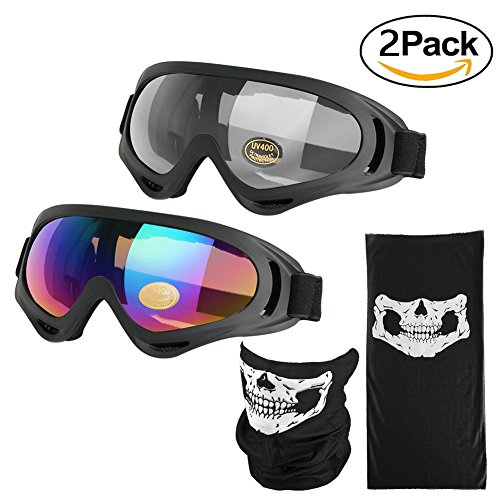 iGoods 2 Pack Motorcycle Goggles Ski Goggles W/ Mask-UV400 Anti Fog Wind Protective Motocross SnowmobIle Dirt Bike Cycling Snowcross Skiing Skate Goggles for Youth Men Women Kids (Multicolor/Clear)