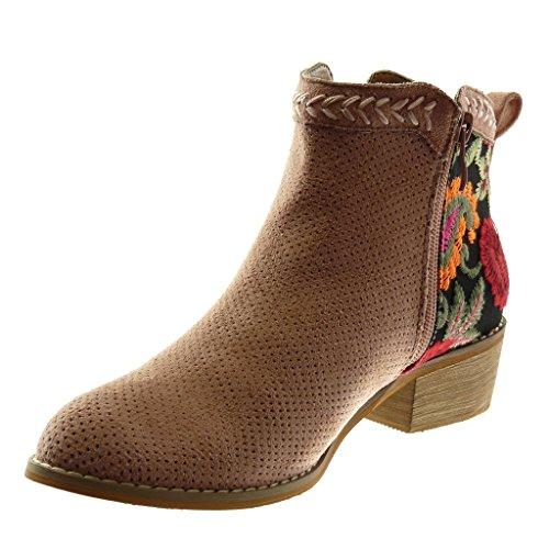 Perforado Tacón cm Mujer Chelsea 4 Botines Botas Moda Zapatillas Alto Mocasines Flores Ancho Rosa Angkorly Pálido Bordado Boots xBqZPzwnf