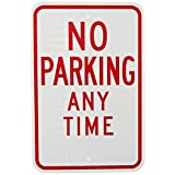 "Tapco R7-1 Engineer Grade Prismatic Rectangular Standard Traffic Sign, Legend""NO PARKING ANY TIME"", 12"" Width x 18"" Height, Aluminum, Red on White"
