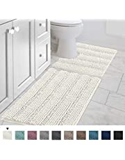 Non Slip Thick Shaggy Chenille Bathroom Rug Mat Set Extra Soft and Absorbent Striped Rugs Machine-Washable