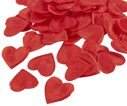 Rose Petal Heart - Rose Petals – 1000-Piece Odorless Artificial Petals Silk Heart Shaped Wedding Flower Favors - Table Scatter Confetti for Proposal Decoration, Valentine, Birthday Party Supplies - Red, 1.5 x 1.5 inches