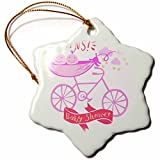 3dRose RinaPiro - Kids - Twins. Girls. Baby shower. Announcement. Cute picture. - 3 inch Snowflake Porcelain Ornament (orn_261340_1)