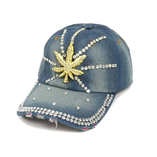 Ladies Bling Mary Jane Leaf Rhinestones Faded Denim Adjustable Baseball Hat