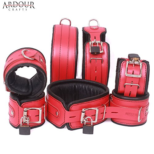 Real Cow Hide Leather Wrist Ankle Thigh Cuffs & Collar Set 7 Pieces Red & Black