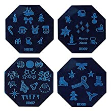 PINZANinF 1PCS Halloween Nail Art Stamp Stamping Blue Image Template Plate HD Series NO.7-10 (Assorted Colors)