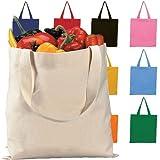 (12 Pack) 1 Dozen - Heavy Cotton Canvas Tote Bag (Assorted Mix)