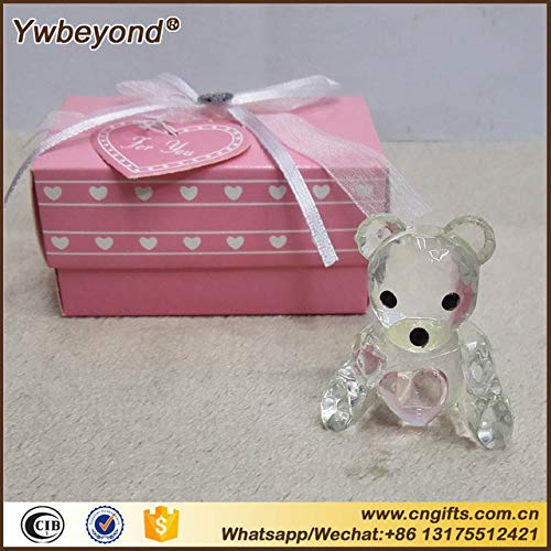 - ZAMTAC 100pcs/lot Ywbeyond Crystal Christening Gifts Baby Shower Souvenirs Favors Pink/Blue Crystal Teddy Bear Favors Figurine - (Color: Pink)