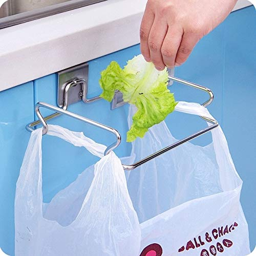 BeesClover hot Multifunctional Stainless Steel Kitchen Trash Bag Shelf Storage Organizer Back Door Cabinet Door Hanging Racks Under Shelf Show One Size