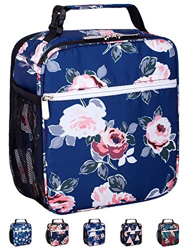 Leakproof Insulated Reusable Cooler Lunch Bag - Durable Compact Office Work School Lunch Box with Multi-Pockets & Detachable Buckle Handle for Women,Men and Kids-Blue Flower