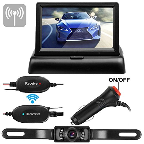 Long Distance Wireless Camera - Emmako Wireless Backup Camera 4.3 Monitor Kit For Car/SUV/MPV/Van/Camper Rear View System Mirrored/Normal View Switchable ON/OFF Guide Lines Width and Length Adjustable IP68 Waterproof Night Vision