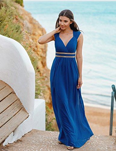08697 Saphirblau Pretty Ärmellos Damen Elegant V Lang Ausschnitt Abendkleid Ever 87zww