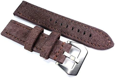 22mm aviateur en Cuir véritable Montre Bracelet en Cuir Bracelet de Montre en Cuir Daim Marron Brown Robuste Stark Look Usé Vintage B23