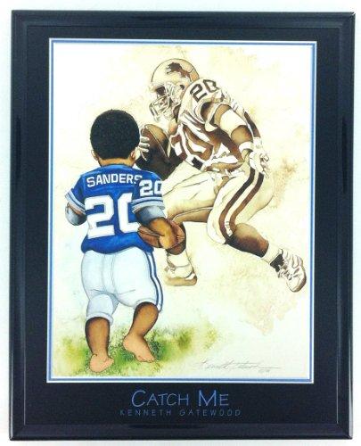 NFL Football Detriot Lions Barry Sanders Print Artwork Framed - Art Nfl