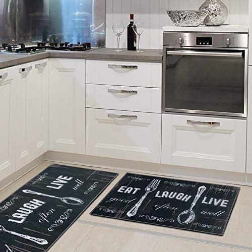 "51iL4S0klVL. AC Carvapet 2 Piece Kitchen Rug Set Non-Slip Backing Mat Throw Rug for Kitchen Doormat Runner Rug Set, Motto Design, Black (17""x48""+17""x24"")    Product Description"