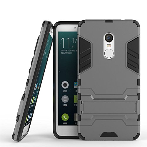 Price comparison product image Xiaomi Redmi Note 4 / Note 4X Armor Case DWaybox 2 in 1 Hybrid Heavy Duty Hard Back Cover Case with kickstand for Xiaomi Redmi Note 4X / Xiaomi Redmi Note 4 / Hongmi Note 4 5.5 Inch (Gray)