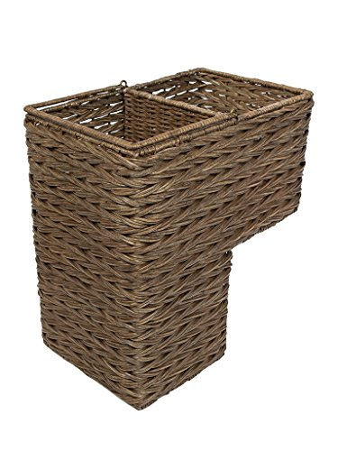 KOUBOO 1060100 Sweater Weave Handwoven Wicker Stair Step Basket, Coffee (Rattan Step Basket)