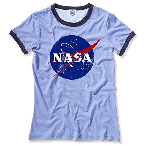 (Hank Player U.S.A. Official NASA Logo Women's Ringer T-Shirt (L, Heather Blue))