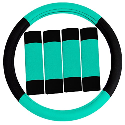 FH Group FH2033 Modernistic Steering Wheel Cover and Seat Belt Pads Mint Color-Fit Most Car, Truck, SUV, or Van