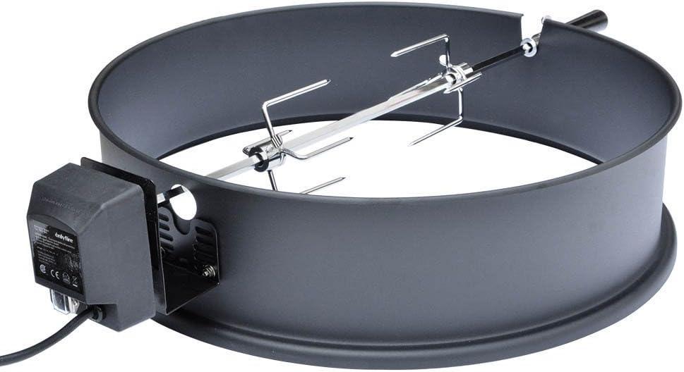 Rotisserie Holzkohle Grill onlyfire 57CM Universal Drehspie/ß mit Motor Grillspie/ß-Aufsatz Set f/ür Kugelgrill passt Weber 2290 und andere Modelle Emailliert-Schwarz